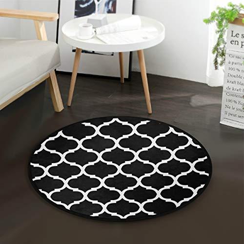 MNSRUU Marokkanisches Spalier Schwarz Weiß Rund Teppich für Wohnzimmer Schlafzimmer 91,4 cm Durchmesser