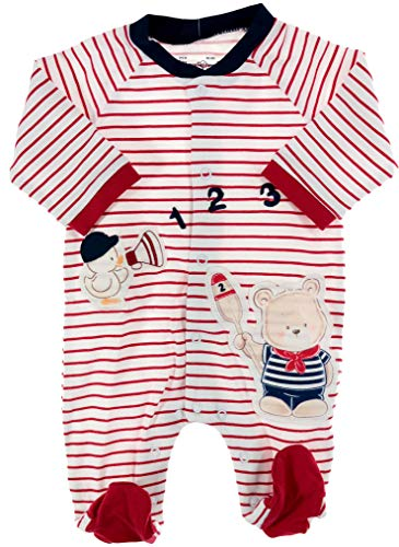 Mayoral Unisex Baby-Strampler/Overall Marine Teddy-Bär AHOI, rot-weiß, Gr. 62 (62)
