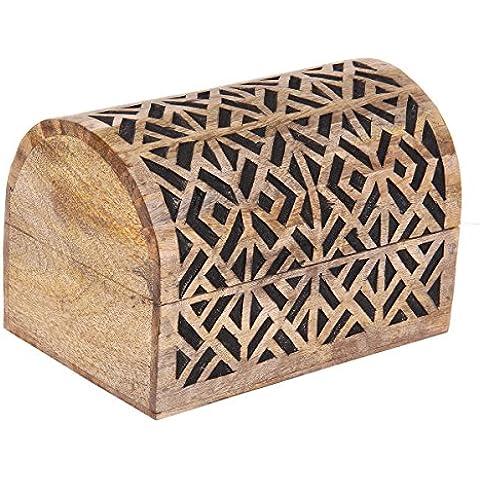 Store Indya, Rustico monili di legno Trinket petto scatola multiuso