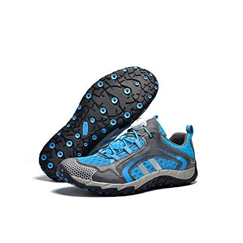 fereshte ,  Unisex Erwachsene Durchgängies Plateau Sandalen mit Keilabsatz Blau