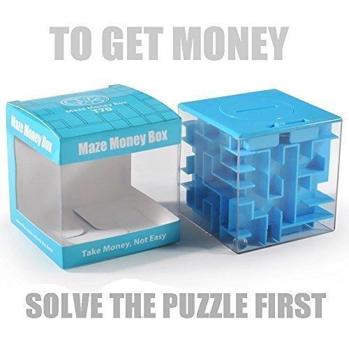 Trekbest Money Maze GeldLabyrinth - Erstaunlich Spardose Puzzle Box für Kinder als Geschenk (Blau) (Für Blaue Schmuck-box Mädchen)
