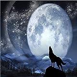 Wuyyii Maßgeschneiderte 3D-Foto-Tapete Wolf Vollmond Nacht WandbildKinderzimmer Wand Wohnzimmer Tapete Papel Wandbild-200X140CM