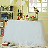 Marry Acting Improved Tutu Tulle Table Skirt Table Cover Cloth Skirting for Wedding Christmas New Year Party Valentine's Day Baby Shower Birthday Cake Table Girl Princess Party Decor (White)