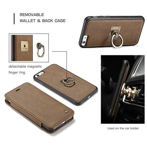 "Wkae CaseMe PU Leder Flip Cover mit Cash / Card Slot, Kick Stand Funktion und Magnetring Halter Wallet Case für Apple iPhone 6S Plus 5,5 ""Zoll ( Color : Yellow ) Brown"