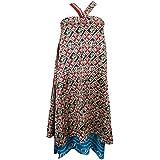 Mogul Interior Ladies Magic Wrap Skirt Black Printed Two Layer Reversible Silk Sari Beach Cover Up