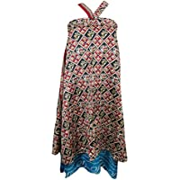 Mogul Interior Ladies Magic Wrap Skirt Black Printed Two Layer Reversible Silk Sari Beach Cover Up