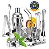 Cocktail Shaker Set, Haipei 22Teilig Cocktail Shaker + Whisky Steine, Komplettes Kit, Sie müssen keine zusätzlichen Whisky Steine kaufen,Ideal für Familien, Feste, Bars
