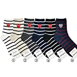 nicesale Cotton socks CDG loving heart socks horizontal stripes white black cotton sweat-absorbent non-smelling feet(buy two get three)