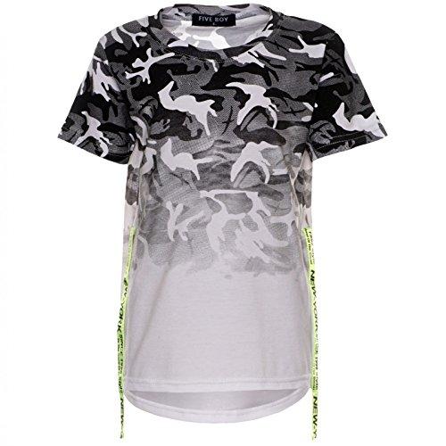 Jungen Camouflage T-Shirt Kinder Rugby Shirt Bluse Kurzarm Stretch Farben 21761, Farbe:Weiß, Größe:128 (Ärmel Stretch-rugby-shirt)