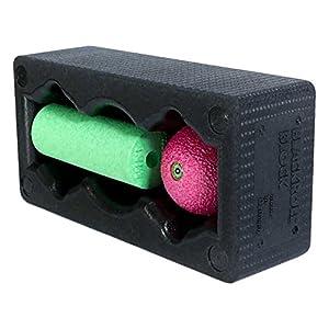 BLACKROLL BLOCK SET – das Original. Yoga-Block mit abgestimmtem Faszien-Ball und kleiner Faszien-Rolle, schwarz/grün/pink