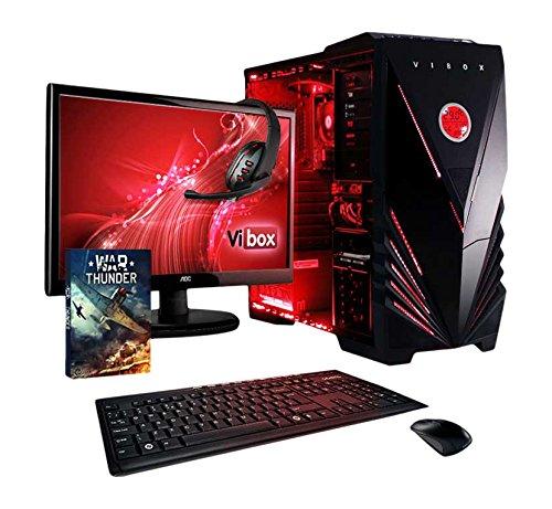 """VIBOX Ultra Gaming PC Computer Paket 11SW - mit WarThunder Spiel Bundle, Windows 10, 22\"""" Monitor, Gamer Headset, Tastatur und Maus (3.8GHz AMD A8 Quad Core CPU, Radeon Integriert Grafik-Chip, 1TB Festplatte, 16 GB RAM)"""