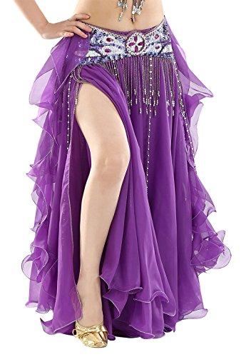 BellyQueen Damen Bauchtanz Kleider Orientalische Kostüme Performance Kleid Outfit Bauchtanzröcke Tanzrock-Lila