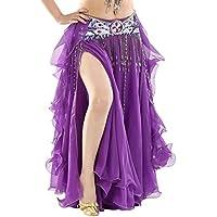 BELLYQUEEN Jupe Danse Orientale Longue Femme Costume Danse Classique Jupe  Double Fente sans Ceinture Jupe Danse 51558ca2620