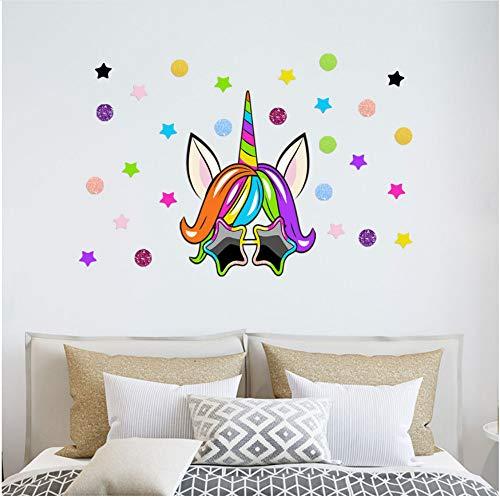 Kreative Sonnenbrille Einhorn Wandaufkleber Wohnzimmer Schlafzimmer Shop Dekoration Wandaufkleber 30 * 45 Cm