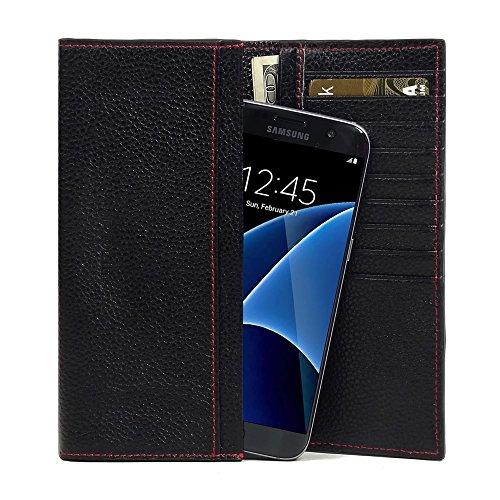 PDAir Galaxy S7 Edge Leder Brieftasche Folio Handy Hülle (Schwarzes Kieselleder/roter Stich), Echtleder Brieftasche Telefon Hülle Tasche Kreditkarte Halter, Continental Brieftasche für Galaxy S7 Edge - Speck Brieftasche Handy