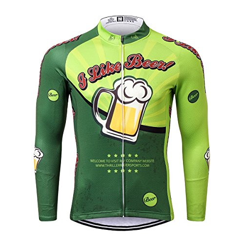 Thriller Rider Sports® Hombre I Like Beer Deportes y Aire Libre Maillot Manga Corta de Ciclismo