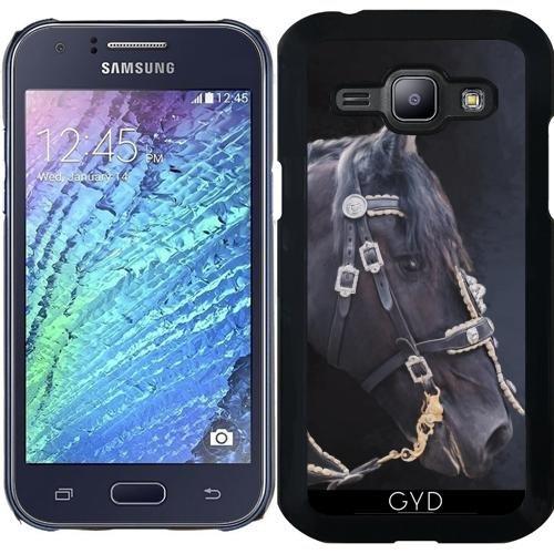 Hülle für Samsung Galaxy J1 2015 (SM-J100) - Friesisches Pferd Porträt by Gatterwe