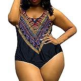 Damen Plus Bademode Jumpsuit Overall Frauen Kurve Berufung Dashiki Afrikanischer Druck Push-Up Bikini Overall Große Größe (C, XXL)