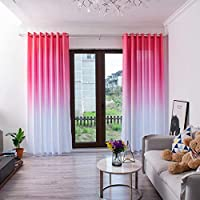 BHYDRY Gradient Curtains, Sheer Tulle Window Treatment Voile Drape Valance 1 Panel Fabric