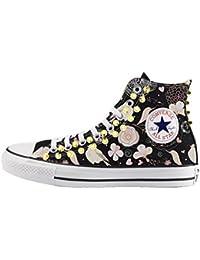 23a2536e0661 Converse Personalizzate con BORCHIE ORO All Star Alta NERA - scarpe  artigianali - stampa FIORI