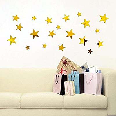 Clearance/ Bluester 20PCS Star Art Mirror Wall Sticker Acrylic Surface Decal Home Room DIY Art Decor - inexpensive UK light store.