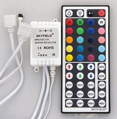 SKYFIELD 44 Tasten RGB Controller mit 2 Steckern für bis 10 m LED SMD RGB Strips Farbwechsel sehr langsam bis 4 min 44T von SKYFIELD bei Lampenhans.de