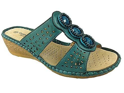 Ladies Anna Cushion Walk Faux Leather Jewel Slip On Peep Toe Low...