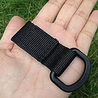 HMOCNV - Llavero de nailon con hebilla para colgar con anilla en D táctica, negro