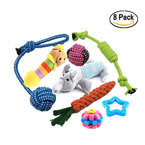 Pets Dog Toys Jumbo Set of 8 Pcs Durable Doggie Toys (Toy Balls Chew Toys Flying Discs Toy Ropes Squeak Toys Dogs Accessories Interactive Dog Toys for Clean Teeth for Fun and for Training)