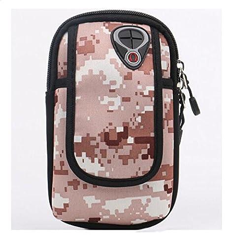 aiyuda Sports Workout brassard Étui multifonction Bras de téléphone portable sac pochette avec trou pour écouteurs pour iPod iPhone 4/4S/5/5S/5C/6clés et cartes Taille unique Noir/gris - Nomad Desert Camo