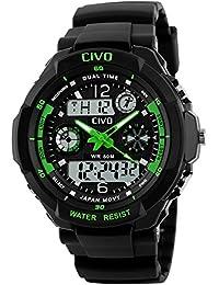 CIVO Männer Jungen Frauen Mädchen Kinder Mode Einfach LED Analog Sportuhr Digital Armbanduhr Wasserdichte Casual Militär Herren Tactical Uhr Silikonband Kalender Wecker für Herren Uhren Grün