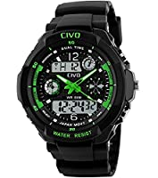 CIVO Mens Boys Digital Watches 50M Electronic Waterproof Military Sports Watch Simple Fashion Design LED Divers Watch for Men Big Face Electronics Light Analogue Digital Wrist Watch Black (Green)
