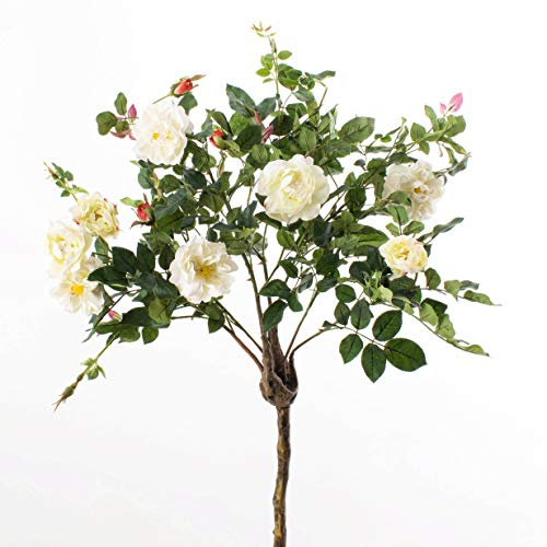 artplants.de Set 4 x Deko Rosenstamm Rosalia, Kunststamm, Blüten, weiß, 135cm - 4 Stück Künstliche Rosen - Künstlicher Baum