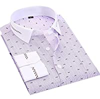 H&E Men's Business Print Long Sleeve Lapel Wrinkle-Free Shirts Medium Purple