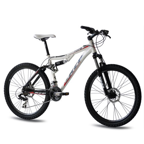 26 KCP MOUNTAIN BIKE PUMP 2 ALLOY 21 SPEED SHIMANO UNISEX DUAL SUSPENSION WHITE   (26 INCH)