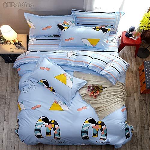 Doulaiqiao Bettbezug Heimtextilien Winter Blau Schneeflocke Bettwäsche Set Bettwäsche Enthalten Bettbezug Flaches Blatt Kissenbezug King Size