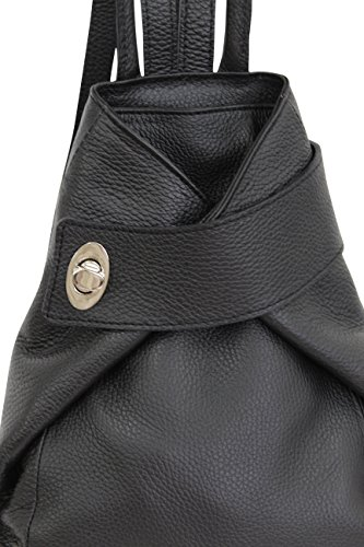 AMBRA Moda echt Leder Damenrucksack CityRucksack DayPack GL014 (Bordeaux) Schwarz 2