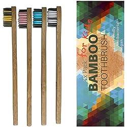 Cepillo de dientes de bambú para niños, suave, 4 unidades cepillo dientes infantil, cepillo de dientes de madera, sin plástico