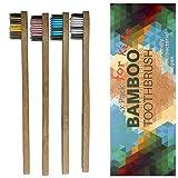 Cepillo de dientes de bambú para niños, suave, 4 unidades, cepillo de dientes de madera, sin plástico