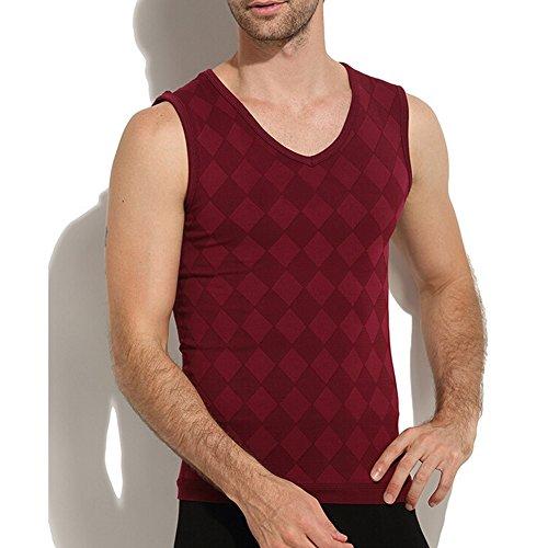 Highdas Biancheria intima termica uomo di alta elasticit¨¤ respirabile doppio strato della maglia Bordeaux