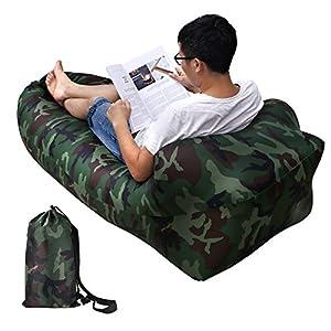 Aufblasbare Liege, Air Sofa, Fast Inflate von Wind oder Air Pump, Wasserdichte Air Bag Stuhl Sofa, ideal für Reisen, Camping, Wandern, Pool und Beach Parties, Lazy Hangout Couch Bed (SF-Camouflage, 1-pack)