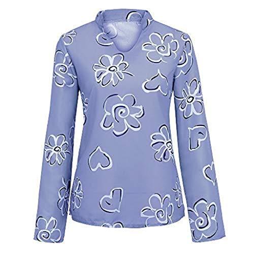 DEELIN Tops Damen Sommer Plus Size Chiffon Blumendruck Langarm Bluse Pullover Tops Shirt (Mädchen Plus Size Jacken)