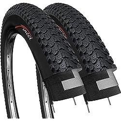 Fincci Par 26 x 2,125 Pulgadas 57-559 Cubiertas para MTB Montaña Hibrida Bici Bicicleta (Paquete de 2)