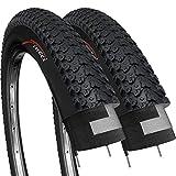 Fincci Paire 26 x 2,125 Pouces 57-559 Pneus pour VTT Montagne Hybrid Vélo Bicyclette (Un Paquet de 2)