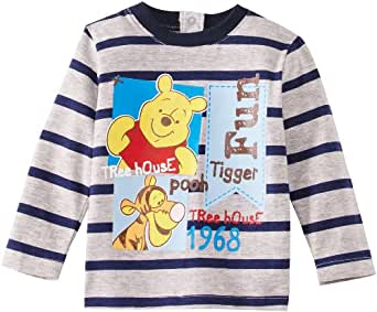 Winnie the Pooh HM0059 Baby Boy's T-Shirt Light Grey Melange/Blue Stripe 18 Months