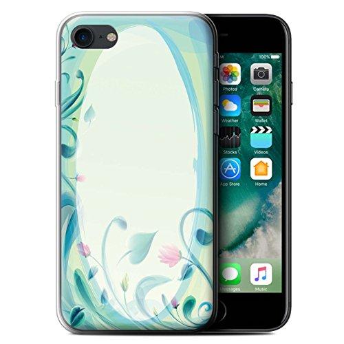 Stuff4 Gel TPU Hülle / Case für Apple iPhone 7 / Martini-Glas/Alkohol Muster / Teal Mode Kollektion Blume Leinwand/Jahrgang