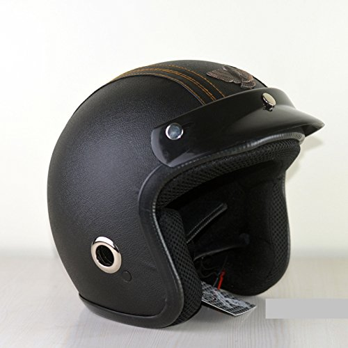 O2 Riderswear Open Face Star Leather Black Helmet