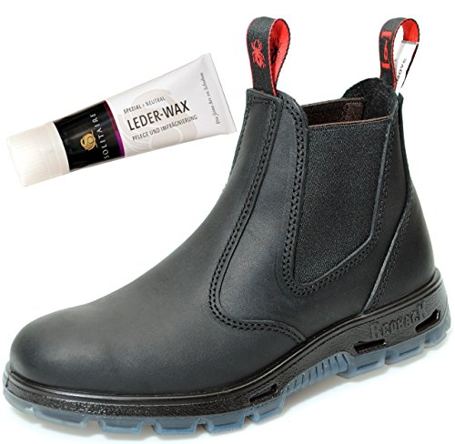 RedbacK UBBK Work Boots Arbeitsschuhe aus Australien Unisex - Black + Lederwax von Solitaire (UK 06.0 / EU 39.0)