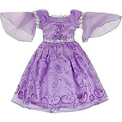 Katara Disfraz de princesa Rapunzel o de Sofía de Disney vestido color violeta para niñas - ideal para Cosplay y carnaval