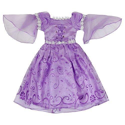 Imagen de katara  disfraz de princesa rapunzel o de sofía de disney vestido color violeta para niñas  ideal para cumpleaños o bodas